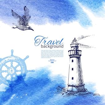 Podróży tło. morski projekt nautyczny. ręcznie rysowane szkic i akwarela ilustracja