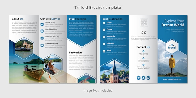Podróży trójstronny szablon broszury