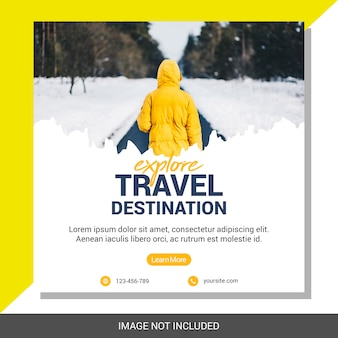 Podróży wakacje social media post szablon transparent kwadratowych