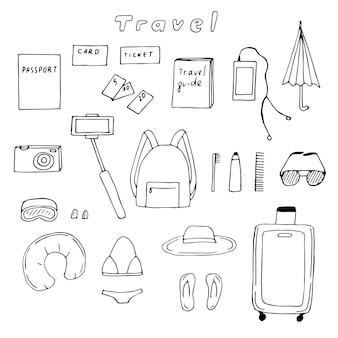 Podróży zestaw wektor doodle ilustracja rzeczy, które ludzie zabierają na wycieczkę