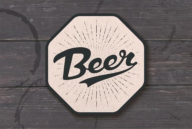 Podstawka pod piwo z ręcznie rysowane napis piwo