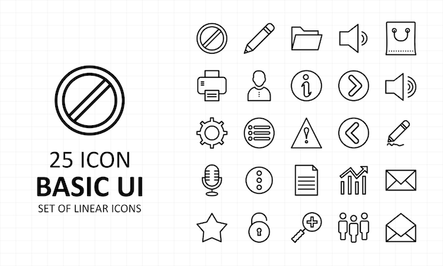 Podstawowa ikona interfejsu użytkownika pixel perfect icons
