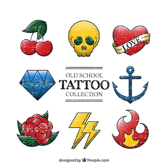 Podstawowa kolekcja starych tatuaż szkolnych