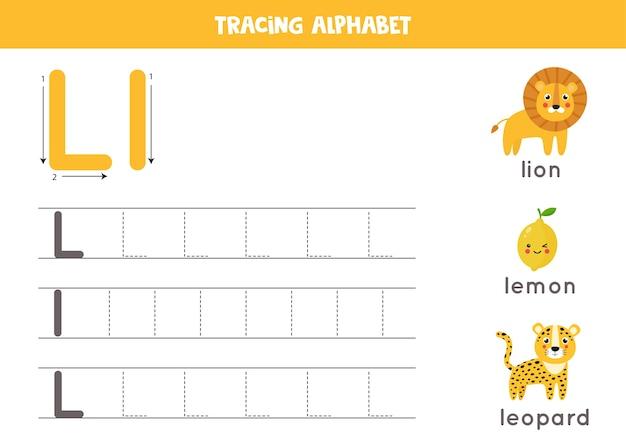 Podstawowa praktyka pisania dla dzieci w wieku przedszkolnym. arkusz śledzenia alfabetu ze wszystkimi literami az. śledzenie dużej i małej litery l z uroczym rysunkowym lwem, cytryną, lampartem. gra edukacyjna z gramatyką.