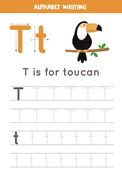 Podstawowa praktyka pisania dla dzieci w wieku przedszkolnym. arkusz śledzenia alfabetu ze wszystkimi literami az. śledzenie litery t z tukanem kreskówka. gra edukacyjna z gramatyką.