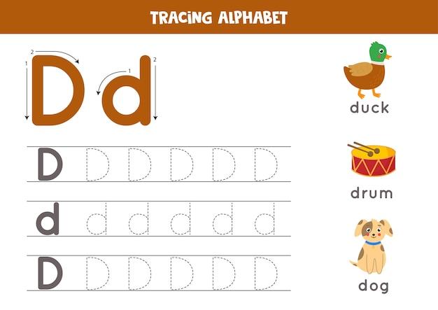 Podstawowa praktyka pisania dla dzieci w wieku przedszkolnym. arkusz śledzenia alfabetu ze wszystkimi literami az. śledzenie wielkich i małych liter d z uroczą kreskówkową kaczką, bębnem, psem. gra edukacyjna z gramatyką.