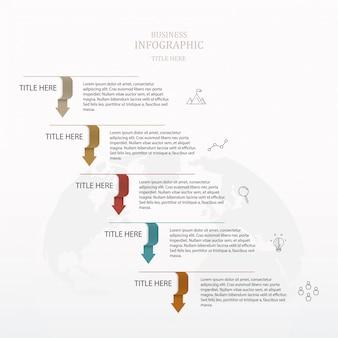 Podstawowa strzałka 5 kroków infografika wykres.