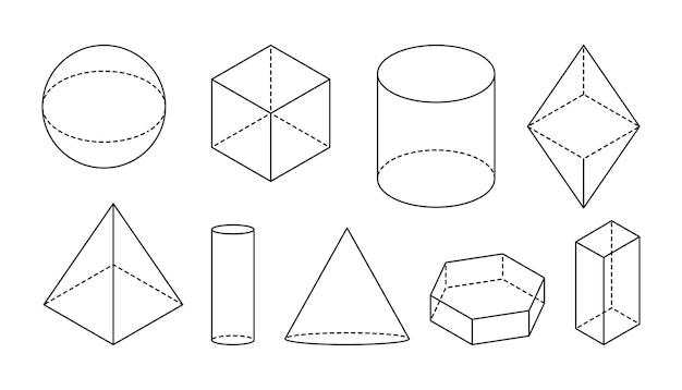 Podstawowe geometryczne kształty wolumetryczne czarna liniowa prosta figura d z przerywanymi niewidocznymi liniami kształtu iso...