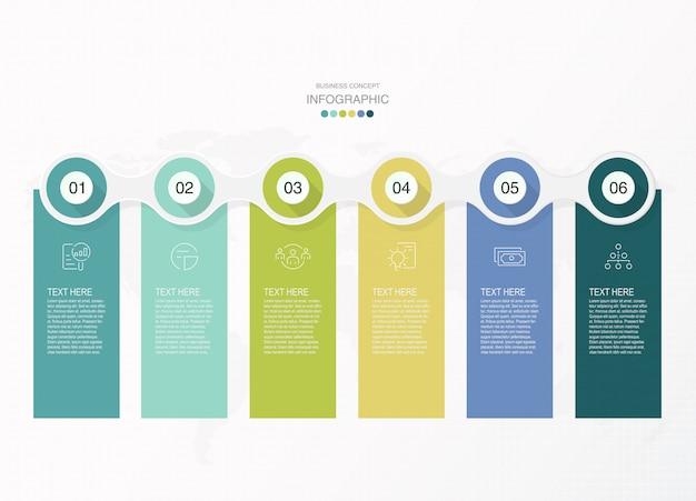 Podstawowe infografiki, 6 opcji, części lub procesy.