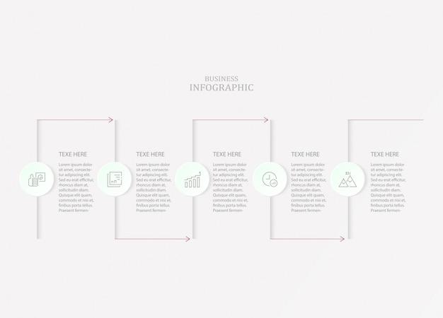 Podstawowe infografiki dla obecnej koncepcji biznesowej. 5 opcji, części lub procesów.
