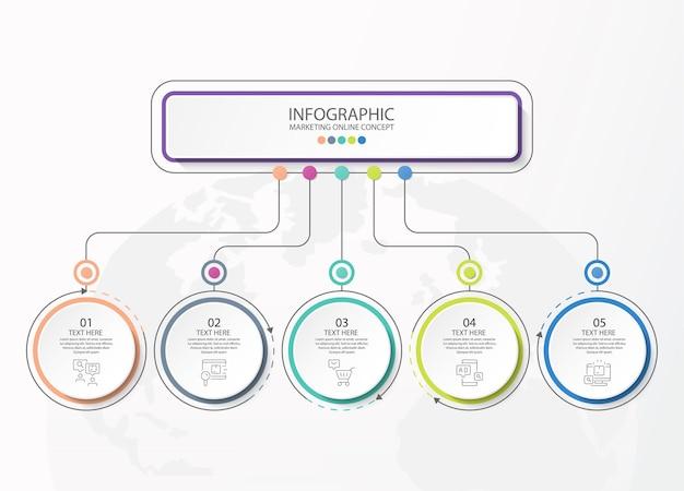 Podstawowe infografiki dla obecnej koncepcji biznesowej. elementy abstrakcyjne, 5 opcji, części lub procesów. wektor biznes szablon prezentacji i koncepcji twórczej.
