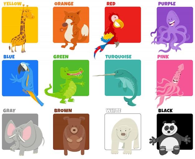 Podstawowe kolory z komiksowymi postaciami ze zwierząt