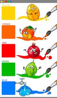 Podstawowe kolory z owocami kreskówek