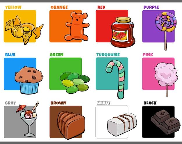 Podstawowe kolory zestaw z obiektami z kreskówek słodkiej żywności
