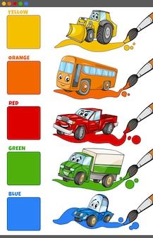 Podstawowe kolory zestawione z postaciami z kreskówek pojazdów