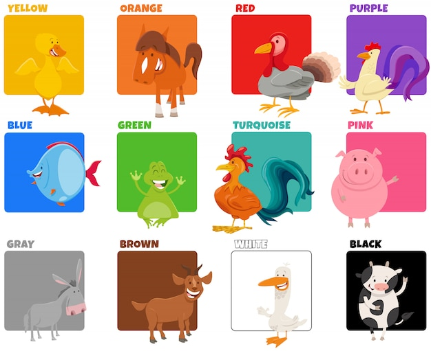 Podstawowe kolory zestawione z zabawnymi postaciami zwierząt