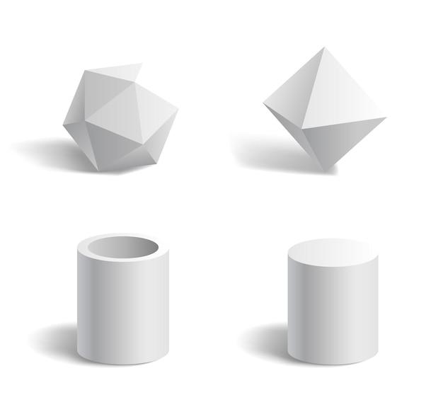 Podstawowe kształty geometryczne 3d wielokąt, rura, cylinder biały