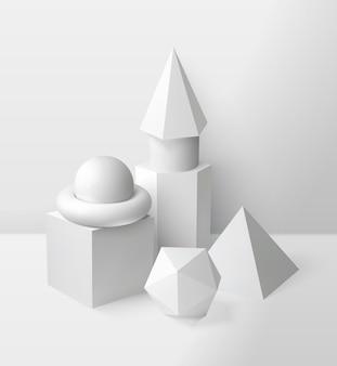 Podstawowe kształty kompozycji z realistyczną ilustracją symboli kuli trójkąta i sześcianu