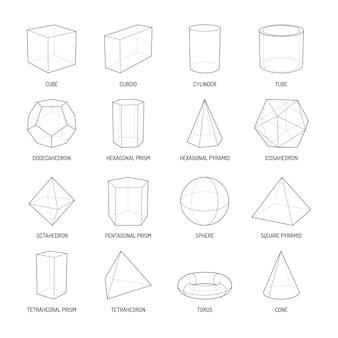 Podstawowe kształty stereometryczne zestaw linii prostopadłościanu ośmiościan piramida pryzmat sześcian stożek cylinder torus na białym tle