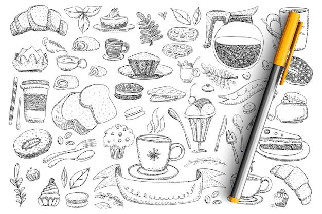 Podstawowe produkty śniadaniowe i zestaw doodle żywności. kolekcja ręcznie rysowane czajnik, kawa, ciasto, chleb, pączek, słodycze, desery, gorące napoje i sztućce na białym tle