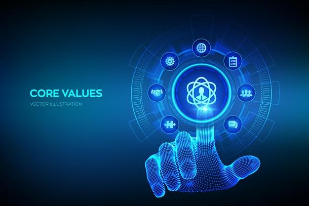 Podstawowe wartości. odpowiedzialność cele etyczne koncepcja firmy na wirtualnym ekranie. infografika podstawowych wartości. szkielet dłoni dotykając interfejsu cyfrowego. ilustracja wektorowa.