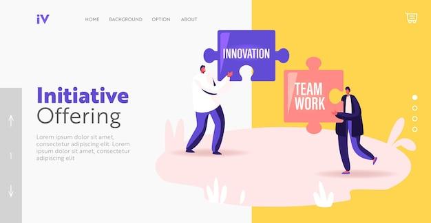 Podstawowe wartości . szablon strony docelowej. małe biznesmenki trzymające ogromne puzzle z podstawowymi zasadami społecznymi i biznesowymi innowacje i praca zespołowa, ludzie pracujący. ilustracja kreskówka wektor