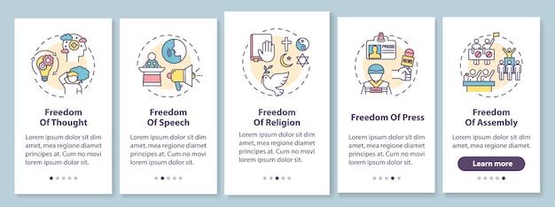 Podstawowe wolności człowieka na ekranie strony aplikacji mobilnej z koncepcjami. podstawowe prawa człowieka. instrukcje graficzne kroków solucji. szablon ui z kolorowymi ilustracjami rgb