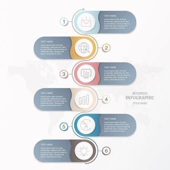 Podstawowy infographic szablon sześć elementów okręgów dla teraźniejszego biznesowego pojęcia.