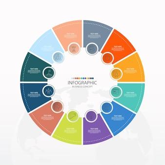 Podstawowy szablon infografiki koła z 12 krokami
