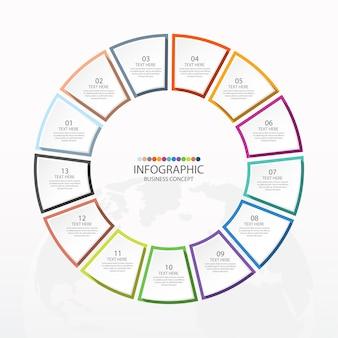 Podstawowy szablon infografiki koła z 13 krokami, procesem lub opcjami