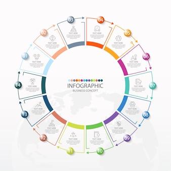 Podstawowy szablon infografiki koła z 14 krokami, procesem lub opcjami