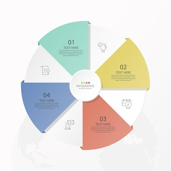 Podstawowy Szablon Infografiki Koła Z 4 Krokami, Procesem Lub Opcjami, Wykresem Procesu Premium Wektorów