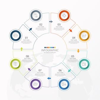 Podstawowy szablon infografiki koła z 8 krokami, procesem lub opcjami, wykresem procesu,
