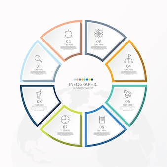 Podstawowy szablon infografiki koła z 8 krokami, procesem lub opcjami, wykresem procesu