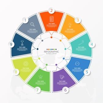 Podstawowy szablon infografiki koła z 9 krokami, procesem lub opcjami