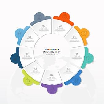 Podstawowy szablon infografiki koła z 9 krokami