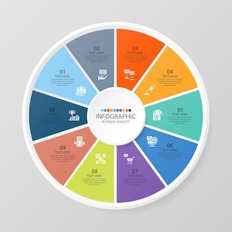 Podstawowy szablon infografiki okręgu z 10 krokami, procesem lub opcjami, wykresem procesu, używanym do diagramu procesu, prezentacji, układu przepływu pracy, schematu blokowego, infografiki. ilustracja wektorowa eps10.