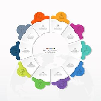 Podstawowy szablon infografiki okręgu z 10 krokami, procesem lub opcjami, wykresem procesu