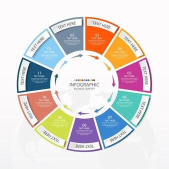 Podstawowy szablon infografiki okręgu z 11 krokami, procesem lub opcjami, wykresem procesu, używanym do diagramu procesu, prezentacji, układu przepływu pracy, schematu blokowego, infografiki. ilustracja wektorowa eps10.