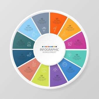 Podstawowy szablon infografiki okręgu z 12 krokami, procesem lub opcjami, wykresem procesu, używanym do diagramu procesu, prezentacji, układu przepływu pracy, schematu blokowego, infografiki. ilustracja wektorowa eps10.