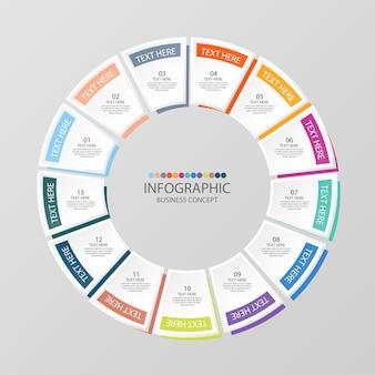 Podstawowy szablon infografiki okręgu z 13 krokami, procesem lub opcjami, wykresem procesu, używanym do diagramu procesu, prezentacji, układu przepływu pracy, schematu blokowego, infografiki. ilustracja wektorowa eps10.