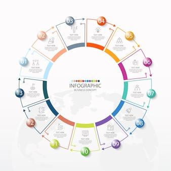 Podstawowy szablon infografiki okręgu z 13 krokami, procesem lub opcjami
