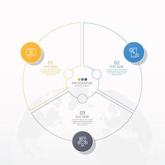 Podstawowy szablon infografiki okręgu z 3 krokami, procesem lub opcjami, wykresem procesu, używanym do diagramu procesu, prezentacji, układu przepływu pracy, schematu blokowego, infografiki. ilustracja wektorowa eps10.
