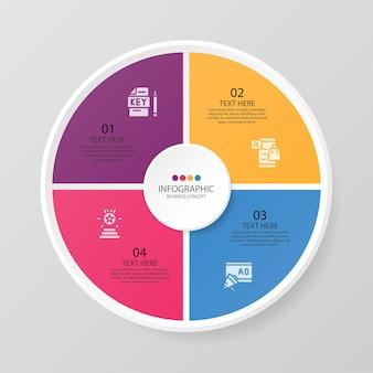Podstawowy szablon infografiki okręgu z 4 krokami, procesem lub opcjami, wykresem procesu, używanym do diagramu procesu, prezentacji, układu przepływu pracy, schematu blokowego, infografiki. ilustracja wektorowa eps10.