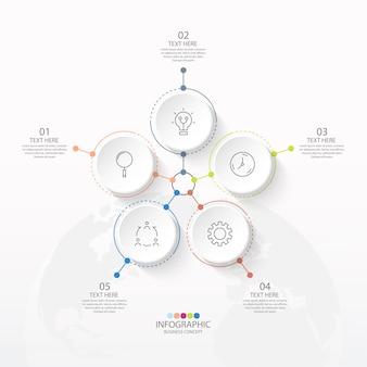 Podstawowy szablon infografiki okręgu z 5 krokami, procesem lub opcjami
