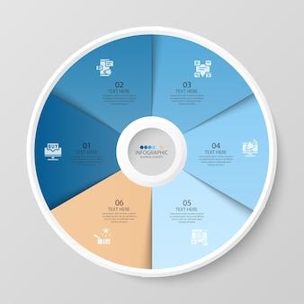 Podstawowy szablon infografiki okręgu z 6 krokami, procesem lub opcjami, wykresem procesu, używanym do diagramu procesu, prezentacji, układu przepływu pracy, schematu blokowego, infografiki. ilustracja wektorowa eps10.