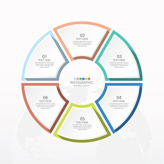 Podstawowy szablon infografiki okręgu z 6 krokami, procesem lub opcjami