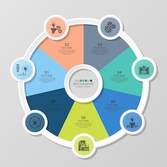 Podstawowy szablon infografiki okręgu z 7 krokami, procesem lub opcjami, wykresem procesu, używanym do diagramu procesu, prezentacji, układu przepływu pracy, schematu blokowego, infografiki. ilustracja wektorowa eps10.