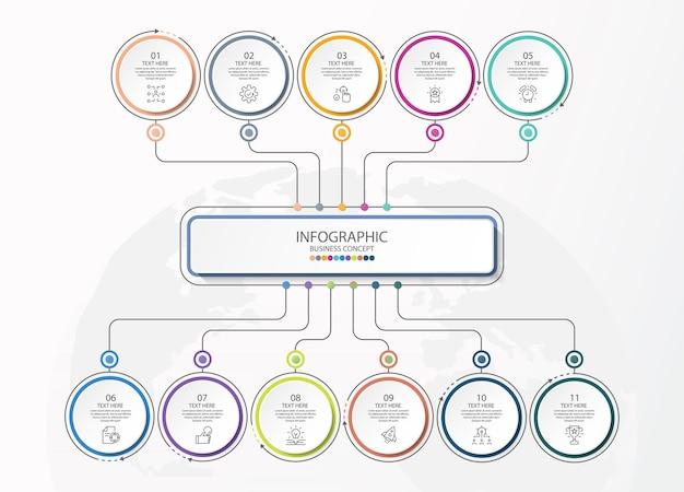 Podstawowy szablon infografiki z 6 krokami, procesem lub opcjami, wykresem procesu, używanym do diagramu procesu, prezentacji, układu przepływu pracy, schematu blokowego, infografiki. ilustracja wektorowa eps10.