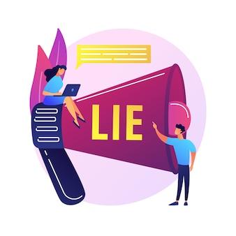 Podstępny człowiek kłamie. osoby z megafonem oskarżają kłamcę o oszustwo. rozprzestrzenianie się fałszywych informacji, oskarżenie o oszustwo, nieuczciwa osoba.